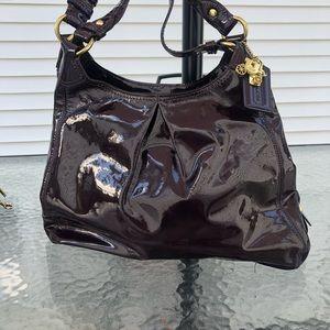 Coach Madison Maggie Purple Patent Shoulder Bag